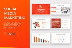 Social Media Marketing Free Google Slides Template Free Powerpoint Presentations, Powerpoint Template Free, Powerpoint Presentation Templates, Keynote Template, Marketing Presentation, Data Charts, Social Media Marketing, Google