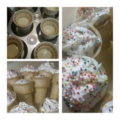 #IceCreamConeCupcakes by me .. #diy #cupcakes #icecreamcupcakes easy .... they were a hit at cookout. Went fast!