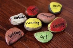 Home school idea: Rock Schedules Have kids paint rocks then print school activities on them. Arrange and rearrange each day/ week's schedule with ease.