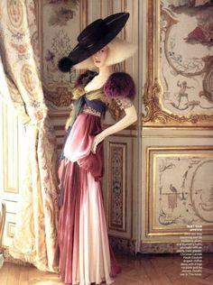"""Raquel Zimmerman by David Sims for Vogue (Dress : Christian Lacroix) """"La beauté, comme le succès en tout, est une question de personnalité (David J. Schwartz)"""