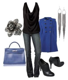 """""""blue"""" by staceedawn ❤ liked on Polyvore featuring Jane Norman, 7 For All Mankind and Hermès"""