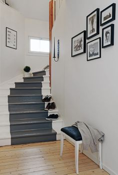 27 Painted Staircase Ideas Which Make Your Stairs Look New Tags: painted staircase, painted plywood stairs, painted stairs black, painted stairs ideas pictures Painted Staircases, Painted Stairs, Wooden Stairs, Painted Floors, Staircase Painting, Stair Walls, Carpet Stairs, Carpet Treads, Stair Banister