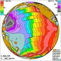 Map of the Spreading Sea Floor in the Pacific Steven Dutch, Natural and Applied Sciences, University of Wisconsin - Green Bay Earth Science Lessons, Earth And Space Science, Earth From Space, Earthquakes For Kids, Sea Floor, Symbolic Representation, Planetary Science, Plate Tectonics, Mineralogy