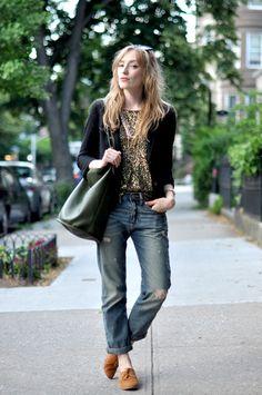 flashy top with blazer and boyfriend jeans.