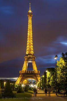 Twilight below the Eiffel Tower, Paris France. © Brian Jannsen Photography