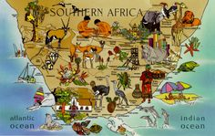 Postcard of the Week: Map of Southern Africa Continents And Countries, Asia Map, West Coast, South Africa, Vintage World Maps, Southern, Illustration, Painting, Contrast