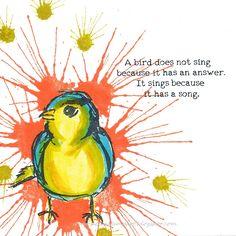 DarkroomDoor meets Dina Wakley. De spetters van DRD Paint Splats, vogeltje en tekst van Dina Wakley Scribbly Birds