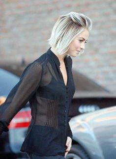 Trendy Short Pinned Blonde Bob hairstyle on Julianne Hough