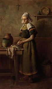 The Breton Girl (In the Kitchen) [Charles Courtney Curran - 1887]