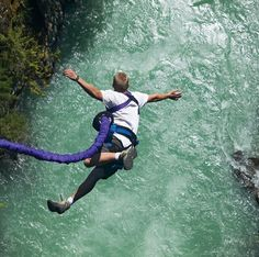 Try bungee jumping - hopefully with more skill than this guy