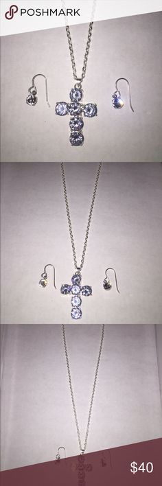 Jewelry set Crystal cross with Crystal earrings sterling silver Swarovski Jewelry Necklaces