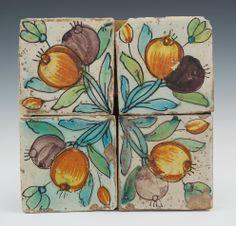 4 ornamental majolica tiles, Spain, 17th Cent.