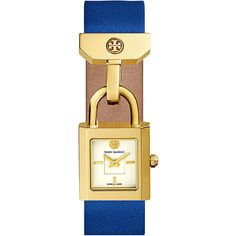 Tory Burch Surrey Leather Padlock Watch ($295) ❤ liked on Polyvore featuring jewelry, watches, relógio, blue, leather wrist watch, blue crown, leather jewelry, leather watches and blue jewelry