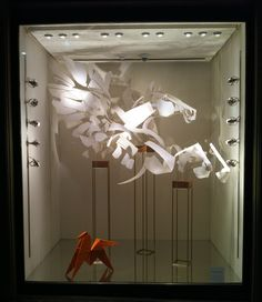 Metamorphosis of Pegasus by Anna-Wili Highfield for Hermes, Collins Street store, Melbourne. Image by Patricia Denis #visualmerchandising #display #windowdisplay #papersculpture