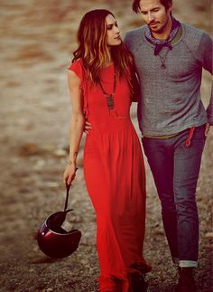 Vibrant bohemian red maxi, as worn by the stunning Erin Wasson, for Free People's March lookbook.