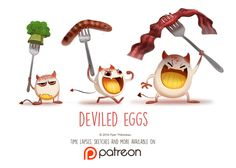 Daily Paint 1465. Deviled Eggs by Cryptid-Creations.deviantart.com on @DeviantArt