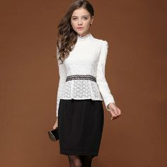 Splicing Fake Two Pieces Stand Collar Long Sleeve Dress