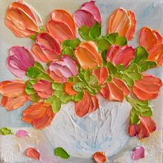 Bright Apricots and Pink Tulips Oil Impasto Painting Small