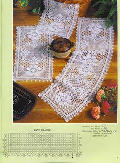 Crochet and arts: Tissues Filet Crochet Charts, Crochet Borders, Crochet Motif, Crochet Designs, Knit Crochet, Crochet Table Runner, Crochet Tablecloth, Crochet Home, Love Crochet