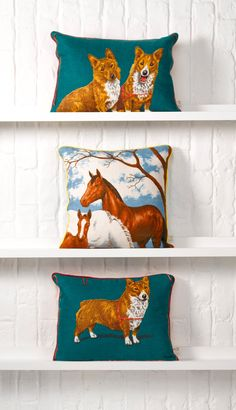 Spread the love for nature and horses with this gorgeous vintage fabric cushion. #EtsyUK ... More important, what about the corgis?!?