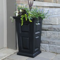 Wyndham 24 in.Tall Patio Planter Moulded High-Grade Polyethylene Construction, Self-Watering Tray Front Door Planters, Front Yard Decor, Black Planters, Tall Planters, Outdoor Planters, Front Porch, Landscaping Plants, Front Yard Landscaping, Landscaping Ideas