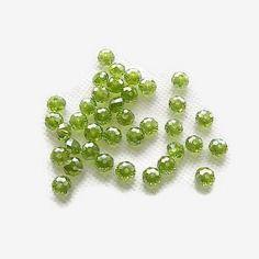 Perles de verre à facettes irisées vertes  6 x4 mm rondelles x 20