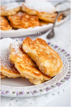 Placuszki serowe z jabłkami - I Love Bake, Quark-Apfel-Puffer Good Food, Yummy Food, Pancakes And Waffles, Polish Recipes, Pasta, No Bake Cake, Cake Recipes, Sweet Tooth, Food Porn