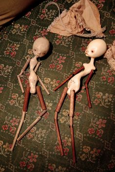 cheekybottoms dolls (karly perez) waiting to be dressed. in love with their akward, twisted bodies.