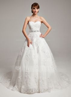 Ball-Gown Sweetheart Chapel Train Tulle Charmeuse Wedding Dress With Lace Beading Bow(s) (002017538)