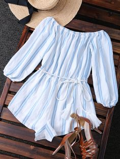 Belted Off The Shoulder Striped Romper BLUE AND WHITE: Rompers   ZAFUL