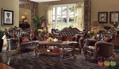 Versailles Formal Dark Brown Faux Leather Sofa And Loveseat Set