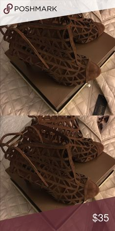 Shoes Zara strappy mesh suede 4 inch heels. Zara Shoes Heels