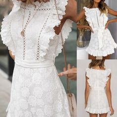 Prairie Crochet Frill Dress White Lace Boho Elegant Ruffle Pinafore Wh Center Of Treasures - White Dresses - Ideas of White Dresses Casual Dresses, Fashion Dresses, White Dress Casual, Beach Dresses, Wedding Dresses, White Dresses For Women, White Lace Dresses, Lace Dress Styles, Ladies Dresses
