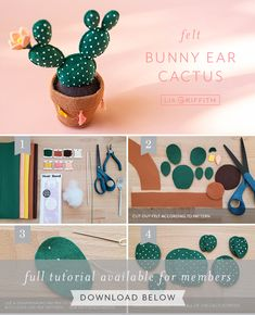 This felt bunny ear cactus come in a cute felt pot and features a tiny felt flower. Learn how to make your own version with our template and tutorial. Felt Crafts Diy, Felt Diy, Paper Crafts, Leaf Template, Owl Templates, Crown Template, Applique Templates, Flower Template, Applique Patterns