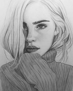 Supreme Portrait Drawing with Charcoal Ideas. Prodigious Portrait Drawing with Charcoal Ideas. Beautiful Pencil Drawings, Pencil Art Drawings, Realistic Drawings, Art Drawings Sketches, Cute Drawings, Girl Pencil Drawing, Drawing Drawing, Pencil Drawing Tutorials, Girl Drawings