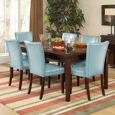 @Overstock - The beveled wood edge and decorative faux marble inlay of this espresso finished table softens the look of the transitional Estonia collection. This is a dining set that will be the centerpiece of your room decor.http://www.overstock.com/Home-Garden/Estonia-Dining-Set-with-Sky-Blue-Chairs-Set-of-7/6986596/product.html?CID=214117 $909.99