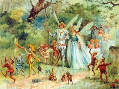 FAIRY King and Queen and Odd Friends! Vintage Fairy Illustration. DIGITAL Download. Vintage Fairy Digital PRINT. Perfect for Paper Crafts