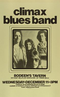Climax Blues Band Poster from Bodeen's Tavern on 11 Dec 74 Norman Rockwell, Rock Band Posters, Vintage Concert Posters, Tour Posters, Rock Concert, Blue Band, Blues Music, Music Photo, Blues Rock