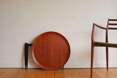 Model 4508 tray table designed by Svend Age Willumsen & Hans Engholm for Fritz Hansen, Denmark 1958 teak table top, folding ebonised legs Teak Table, Fritz Hansen, Furniture Design, Tray, Chair, Denmark, Vintage, Legs, Home Decor