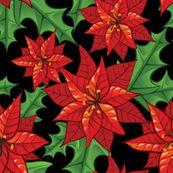 Poinsettia On Black by lunastone, Spoonflower digitally printed fabric
