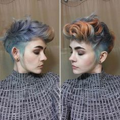 Edgy mohawk style - love the dusky pink and blue colors. Edgy mohawk style - love the dusky pink and Lisa Frank, Pixie Hairstyles, Cool Hairstyles, Pastel Blue Hair, Cotton Candy Hair, Ombre Blond, Androgynous Hair, Peach Hair, Red Hair Color