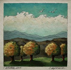 Small landscape painting autumn trees and by MarieClaproodArt