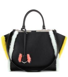 bcf6513dadda Fendi fur-trimmed leather tote Black : Buy replica watches, designer  replica handbags, cheap wallets, shoes for sale