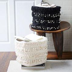 "Moroccan Wedding Baskets #westelm  14""diam. x 12""h. 90% cotton, 10% metal sequins. Handwoven. Made in India."