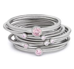 'Halo' pink diamond platinum stacking #rings by James Newman
