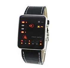 73eb98121a6b1 LanLan Mens Binary Code Digital Display LED Watch with Faux Croc Leather  Band     Check out this great product.Note It is affiliate link to Amazon.
