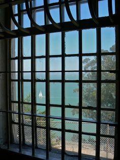 The view from the Alcatraz Prison cafeteria, Alcatraz Island, California