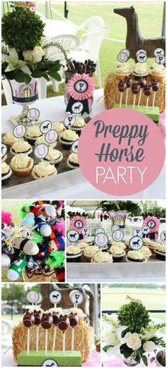 Love this navy blue and pink, preppy horse party! With homemade stick horse favors! See more party ideas at CatchMyParty.com!