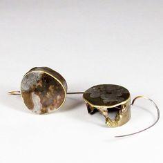 Roxy Lentz earrings of re purposed silver plate tray, fire patina.