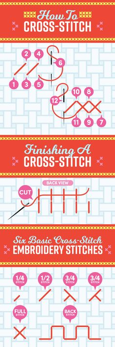 Leer de basis van kruissteek types. | 29 Cross-Stitching Tips Every Beginner Should Know